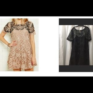 SALE Free People BLACK SM dress lace embroidered